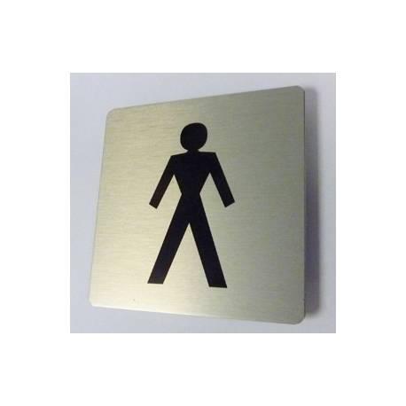 Pictogram Toilet heren Aluminium RVS look