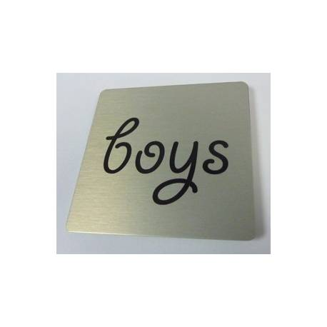 Pictogram met tekst boys Aluminium RVS look