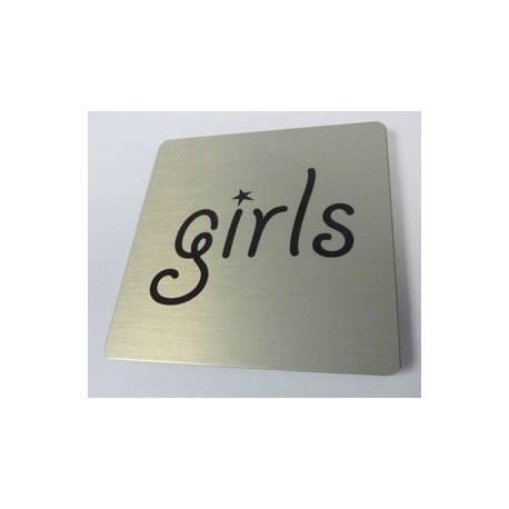 Pictogram met tekst girls Aluminium RVS look