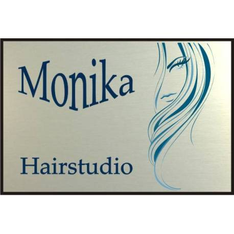 RVS look Bedrijfsnaambord met logo hairstudio