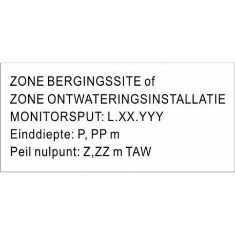 Kunststof naamplaatje, tekstplaatje  wit met zwarte letters 150x70mm