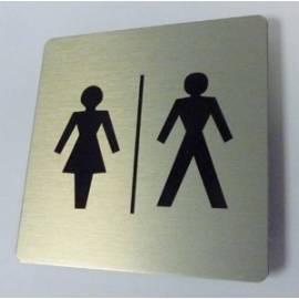 Pictogram Toilet dames / heren 15 x 15 cm Aluminium RVS look