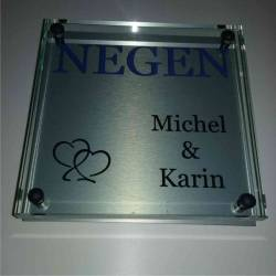 Glazen Naambord Michel & Karin Hartjes
