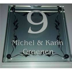 Glazen Naambord Michel & Karin Grote Facetrand