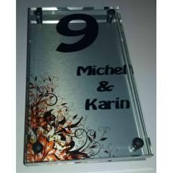Glazen Naambord Michel & Karin met print bloemen