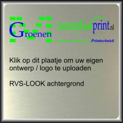 RVS look naambord upload uw logo / foto