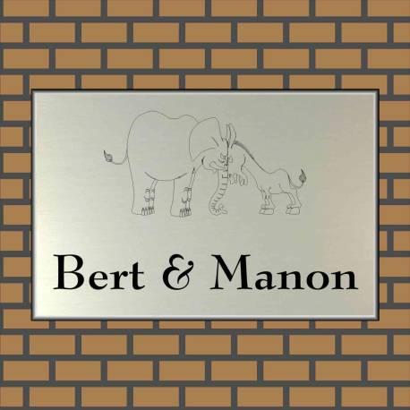 RVS look Naambordje 12 x 8 cm olifant ezel