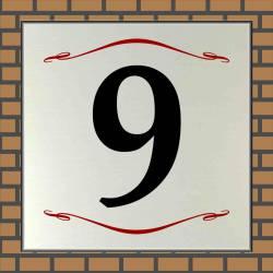 RVS look Huisnummerbord 9