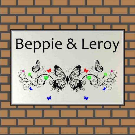 Naambordjes met afbeelding vlinder 1