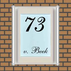 Naambordjes RVS in frame. 1520 hemelsblauw