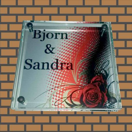 Glazen naambord met print op achterplaat