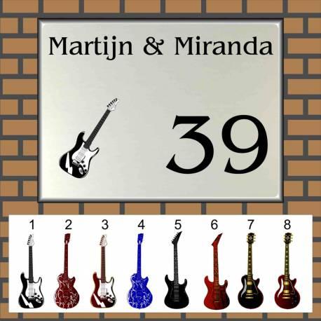 Naambordje muziek 28 gitaren