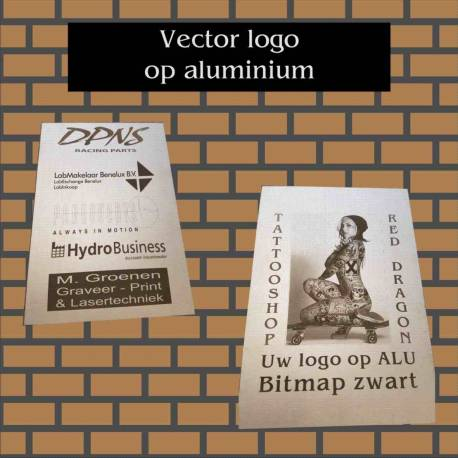 Vector logo op Aluminium