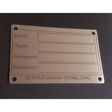 RVS machine typeplaatje